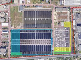 Lageplan der ARA Niederrad mit farbiger Markierung der Erweiterungsbereiche der Belebungsbecken und der Nachklärung (Quelle: SEF Ausschreibungsunterlagen)