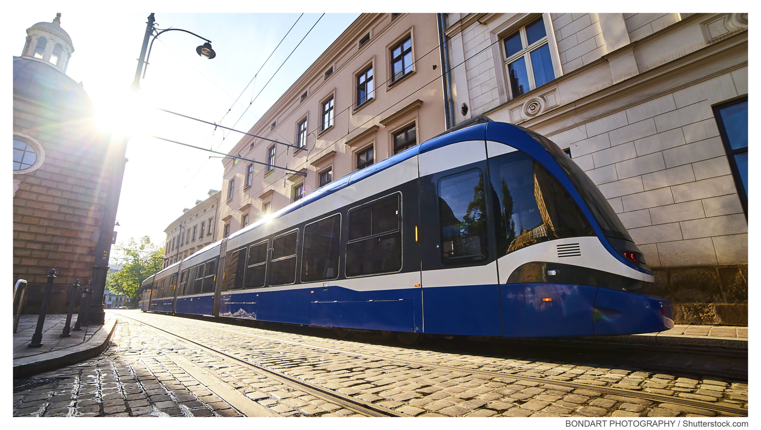 Tram,On,The,Street,Of,Old,Town,In,Krakow,,Poland.